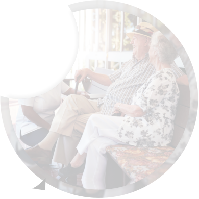 elderly couple sitting on the bench
